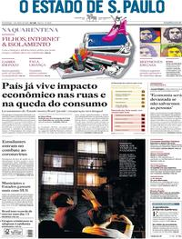 Capa do jornal O Estado de Sao Paulo 05/04/2020