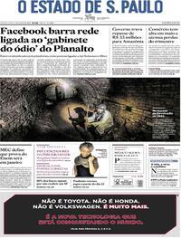 Capa do jornal O Estado de Sao Paulo 09/07/2020