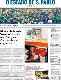 Capa do jornal O Estado de Sao Paulo 09/08/2020