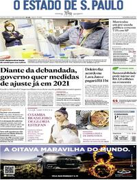 Capa do jornal O Estado de Sao Paulo 13/08/2020