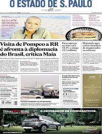 Capa do jornal O Estado de Sao Paulo 19/09/2020