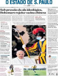 Capa do jornal O Estado de Sao Paulo 22/10/2020