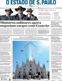 Capa do jornal O Estado de Sao Paulo 26/05/2020