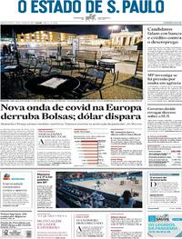 Capa do jornal O Estado de Sao Paulo 29/10/2020