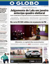 Capa O Globo 2017-12-13