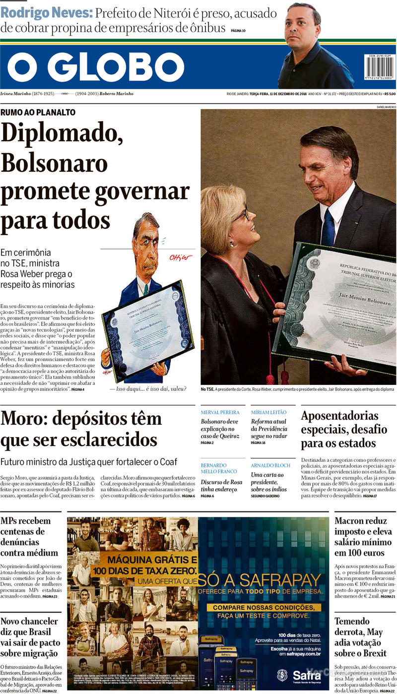 Capa O Globo 2018-12-11