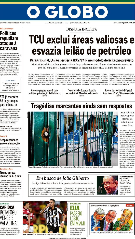 5960cb52b8 Capa - O Globo - Quinta
