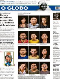 Capa O Globo 2018-08-17