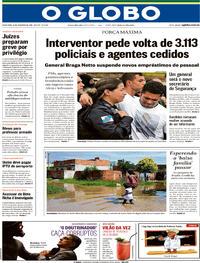Capa O Globo 2018-02-23