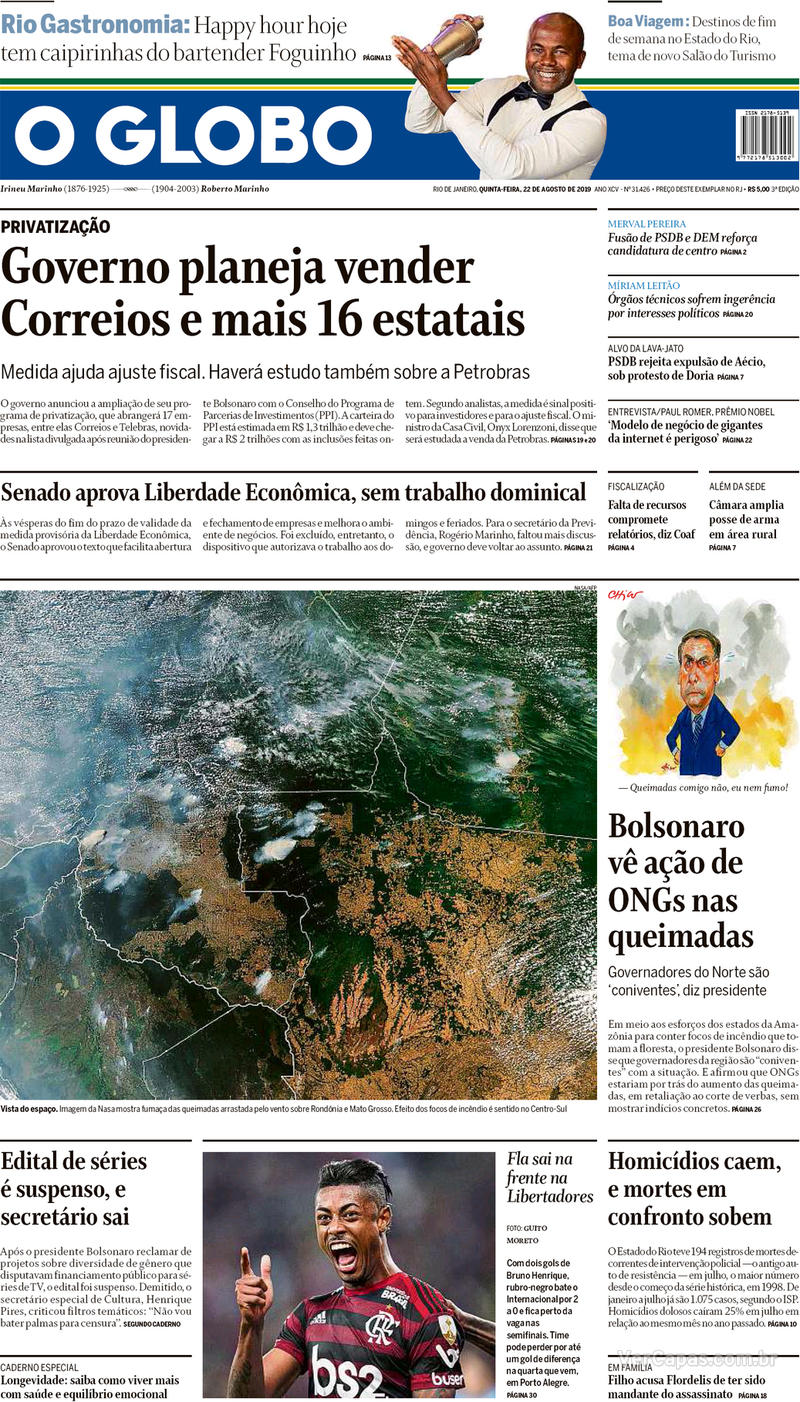 Capa jornal O Globo