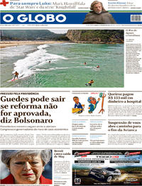 Capa Jornal O Globo 25/05/2019