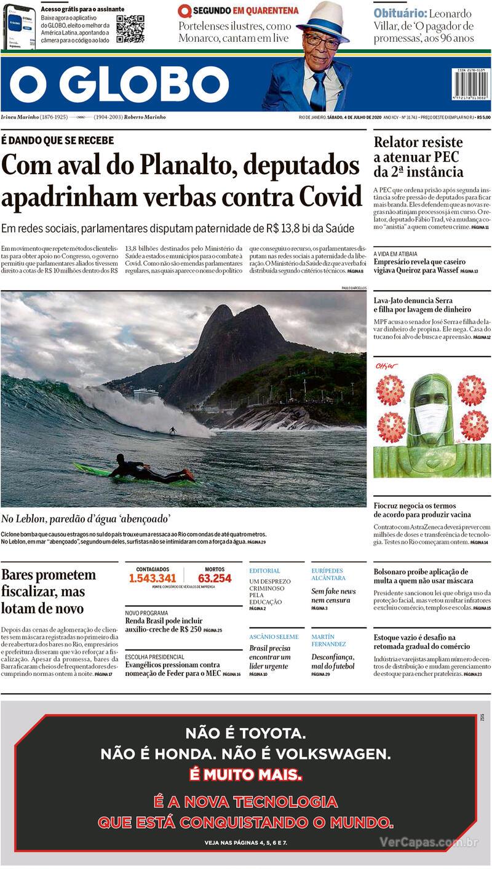Capa do jornal O Globo 04/07/2020