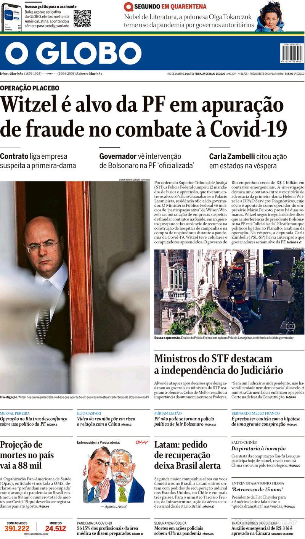 Capa do jornal O Globo 27/05/2020