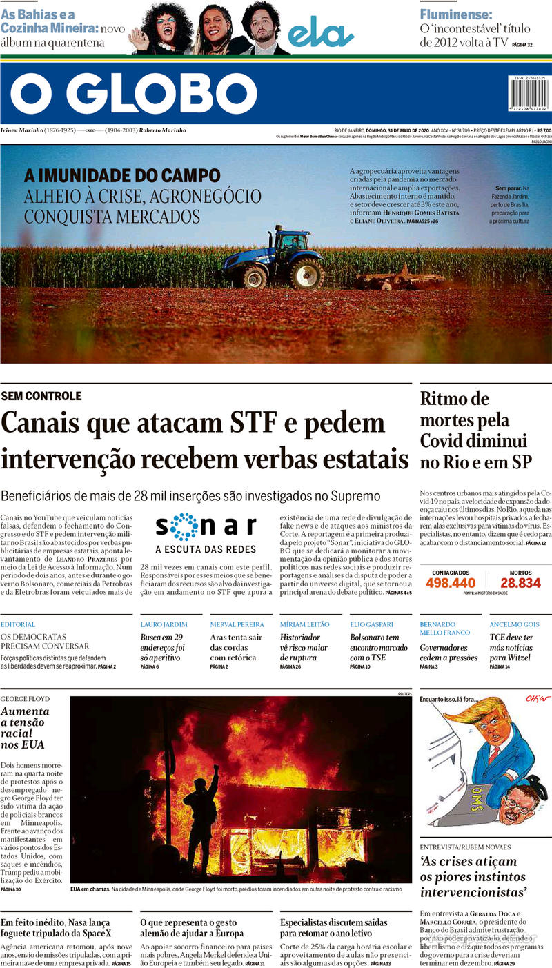 Capa do jornal O Globo 31/05/2020