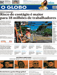 Capa do jornal O Globo 05/04/2020