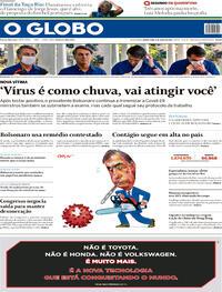 Capa do jornal O Globo 08/07/2020