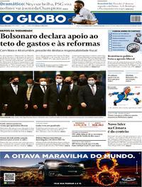 Capa do jornal O Globo 13/08/2020