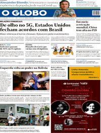 Capa do jornal O Globo 20/10/2020