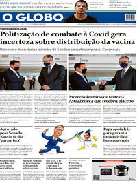 Capa do jornal O Globo 22/10/2020