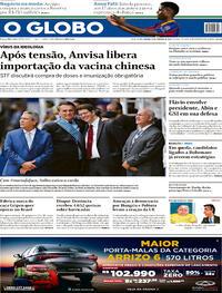 Capa do jornal O Globo 24/10/2020