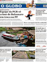 Capa do jornal O Globo 25/05/2020