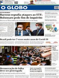 Capa do jornal O Globo 26/05/2020