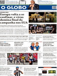 Capa do jornal O Globo 29/10/2020