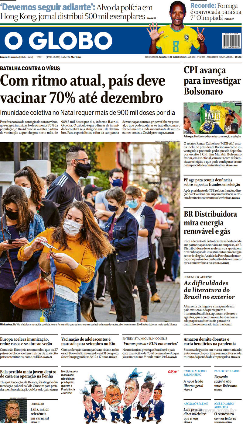 Capa do jornal O Globo 19/06/2021