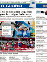 Capa do jornal O Globo 03/08/2021