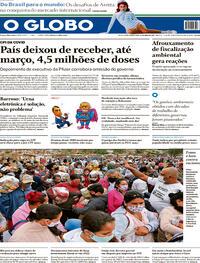 Capa do jornal O Globo 14/05/2021