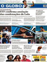 Capa do jornal O Globo 16/04/2021