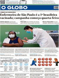 Capa do jornal O Globo 18/01/2021