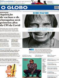 Capa do jornal O Globo 18/04/2021