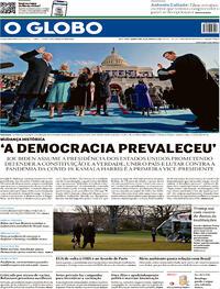 Capa do jornal O Globo 21/01/2021