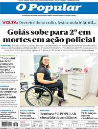 Capa do jornal O Popular 20/10/2020