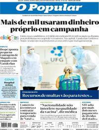 Capa do jornal O Popular 22/10/2020