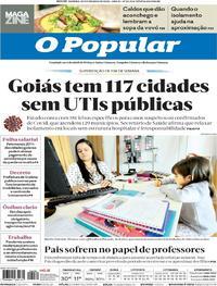 Capa do jornal O Popular 30/05/2020