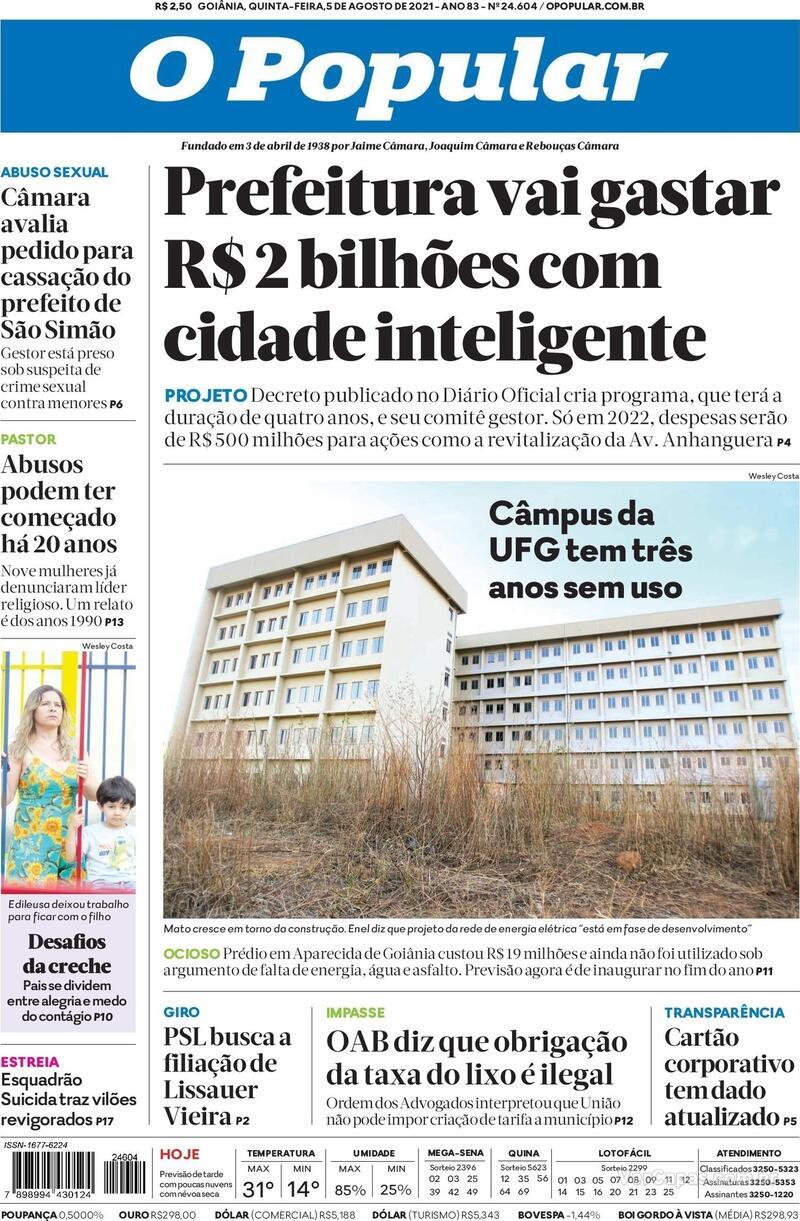 Capa do jornal O Popular 05/08/2021