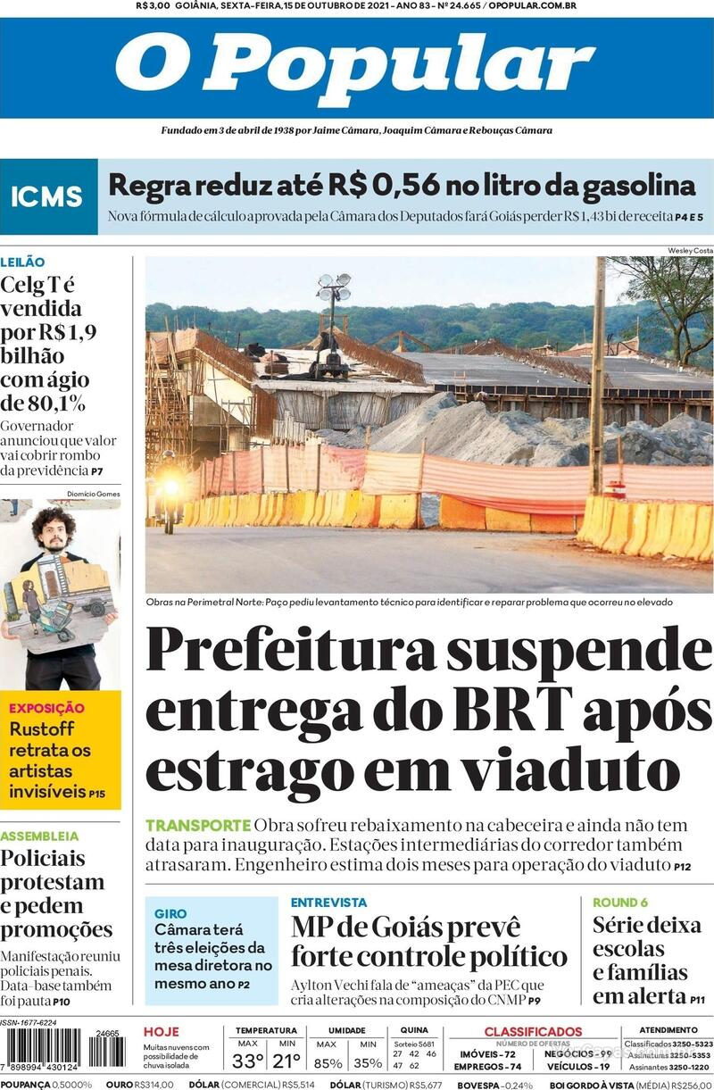 Capa do jornal O Popular 15/10/2021