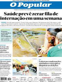Capa do jornal O Popular 16/04/2021