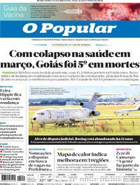 Capa do jornal O Popular 17/04/2021
