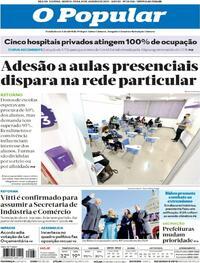 Capa do jornal O Popular 21/01/2021