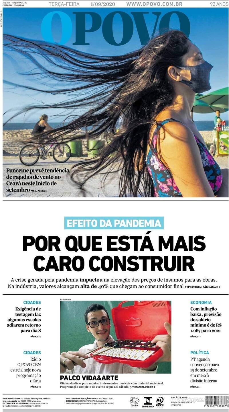 Capa do jornal O Povo 01/09/2020
