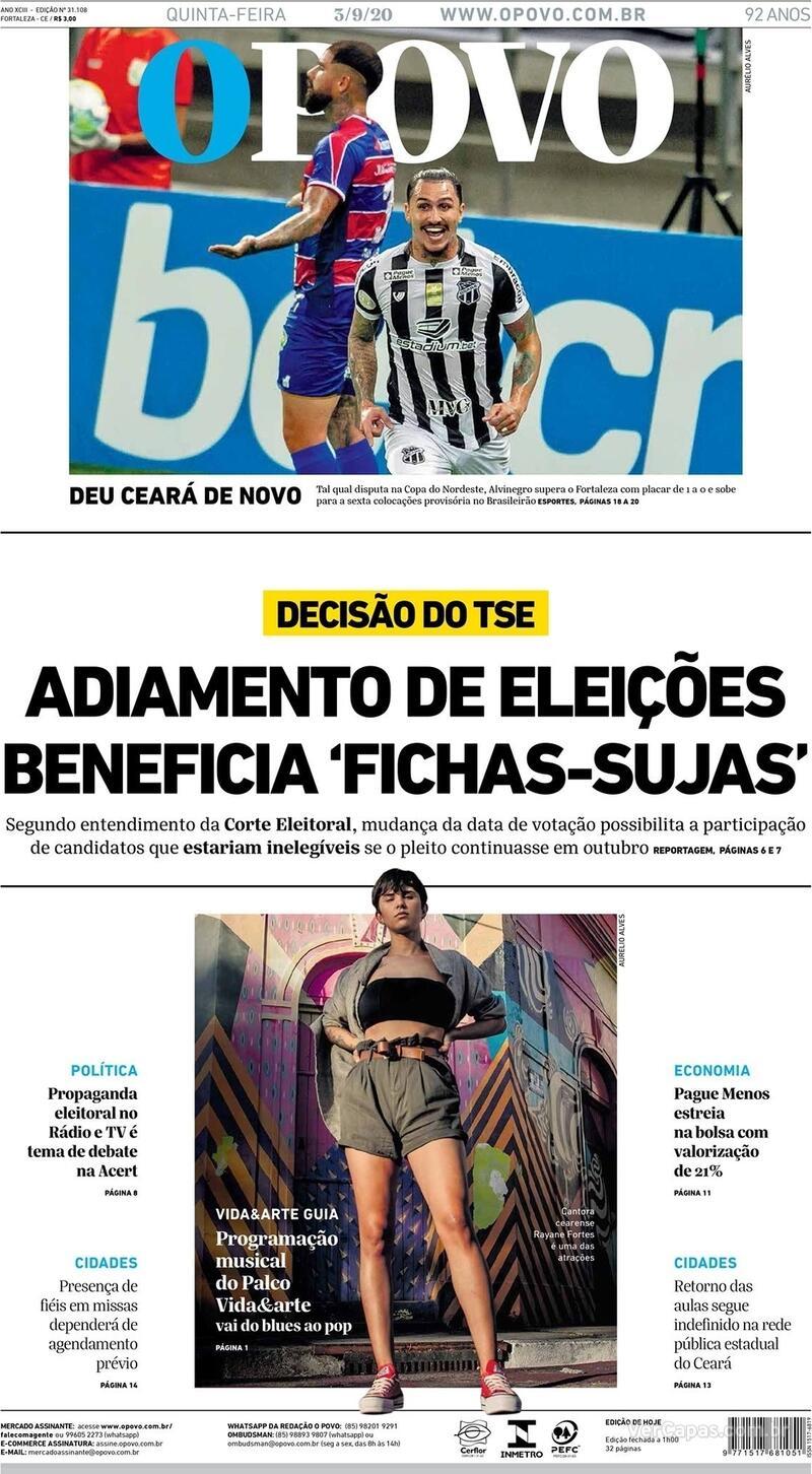 Capa do jornal O Povo 03/09/2020