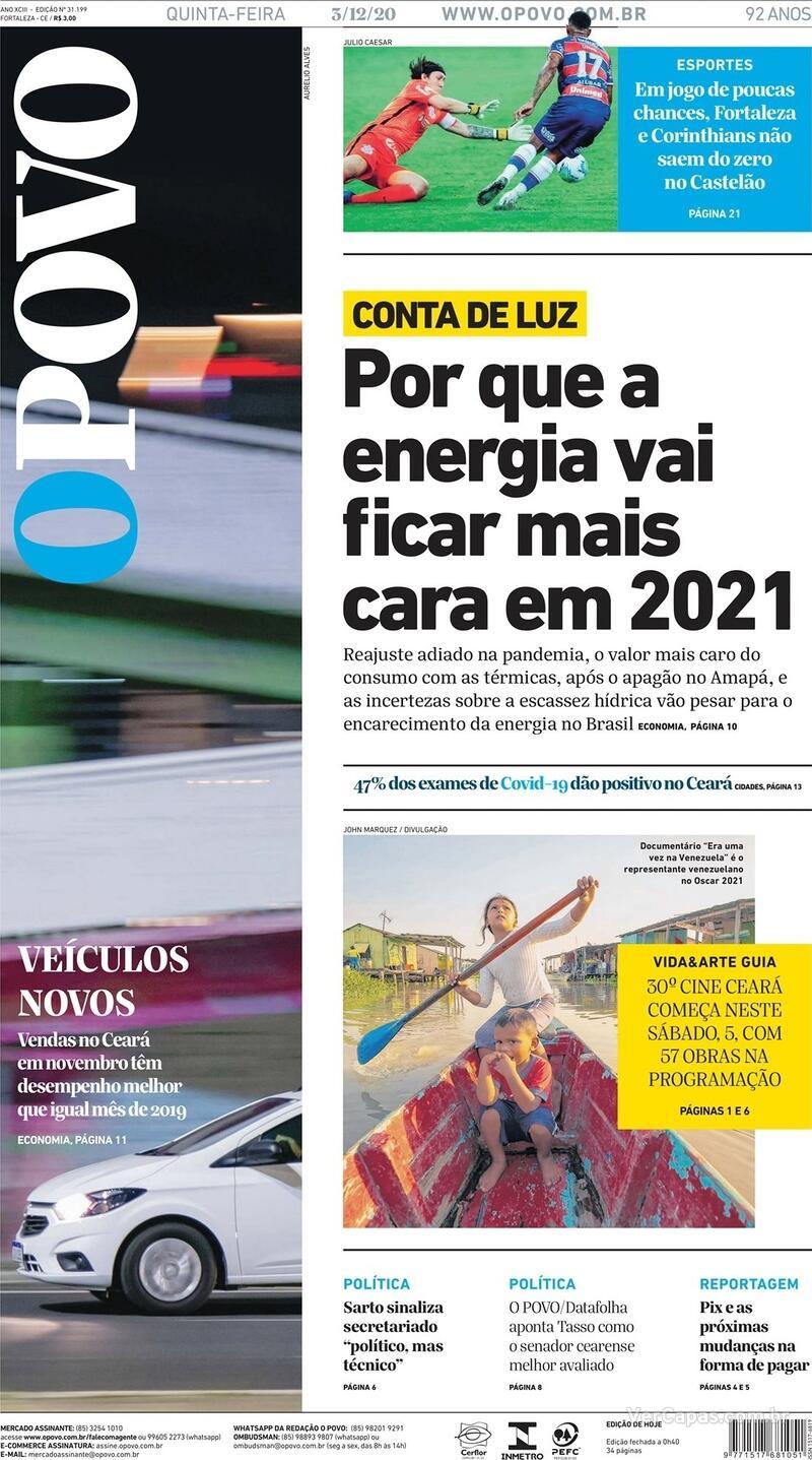 Capa do jornal O Povo 03/12/2020