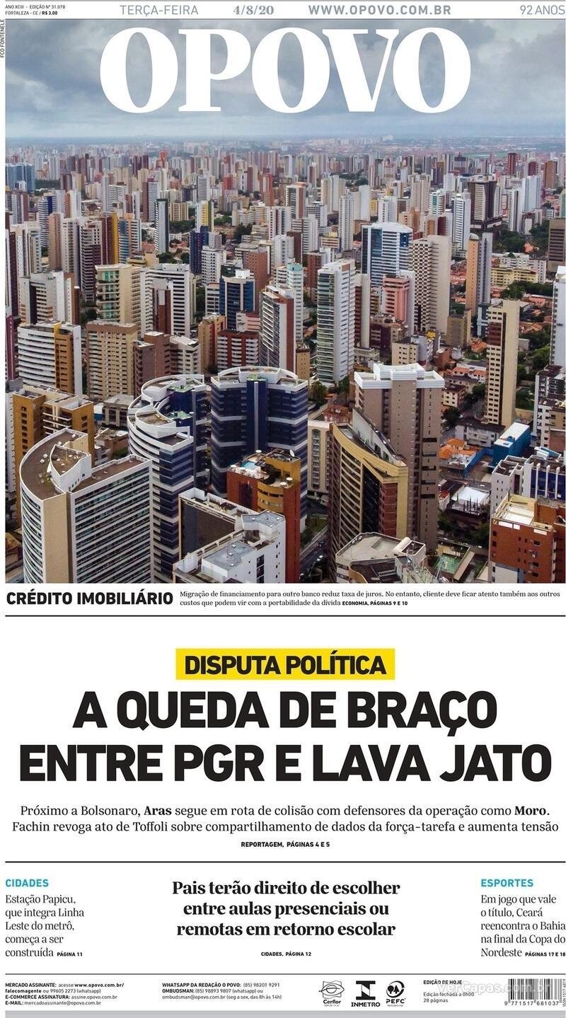 Capa do jornal O Povo 04/08/2020