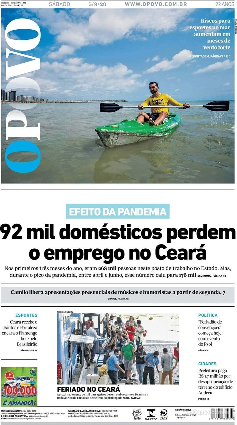 Capa do jornal O Povo 05/09/2020