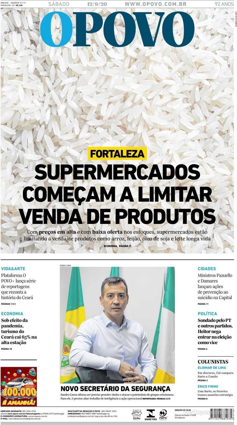 Capa do jornal O Povo 12/09/2020