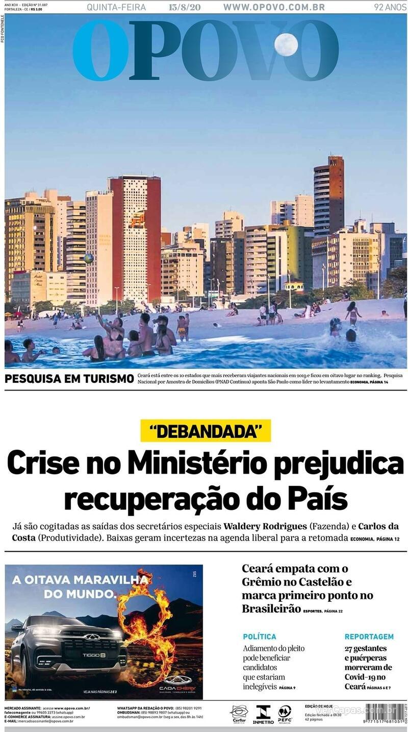 Capa do jornal O Povo 13/08/2020
