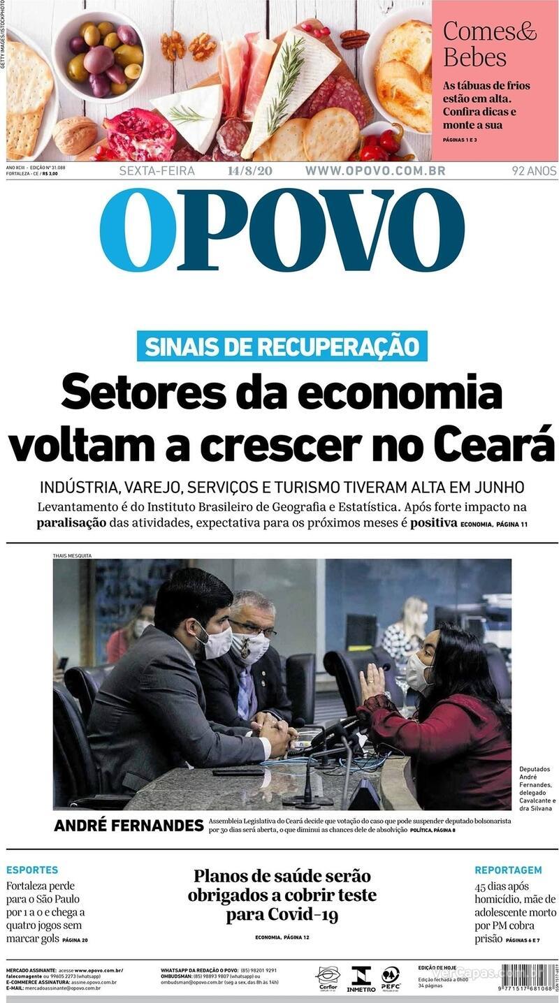 Capa do jornal O Povo 14/08/2020